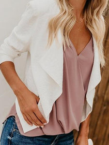 White Long Sleeve Chic Women Crop Blazer