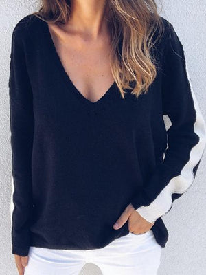 Black V-neck Stripe Panel Long Sleeve Chic Women Knit Sweater