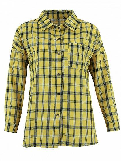 Yellow Plaid Pocket Front Long Sleeve Chic Women Shirt