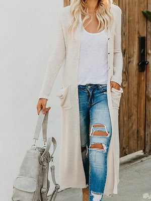 White Long Sleeve Chic Women Knit Longline Cardigan