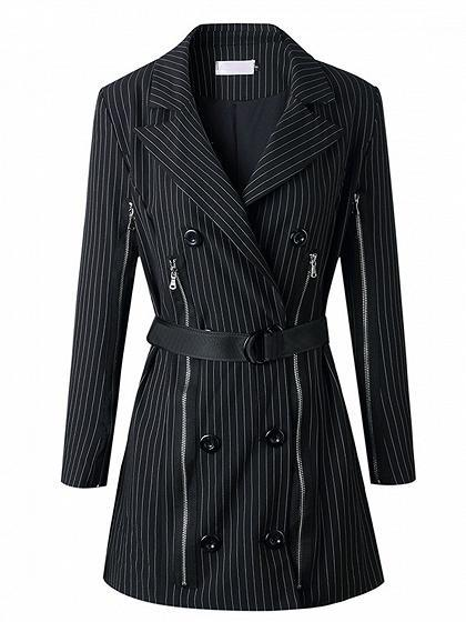 Black Stripe Double Breasted Front Long Sleeve Chic Women Blazer