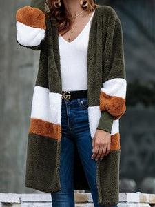 Army Green Open Front Stripe Panel Long Sleeve Chic Women Fluffy Cardigan