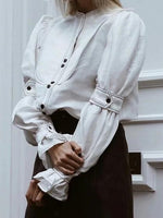 White Button Placket Front Flare Sleeve Chic Women Shirt