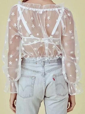 White V-neck Flower Embroidery Chic Women Sheer Mesh Crop Blouse
