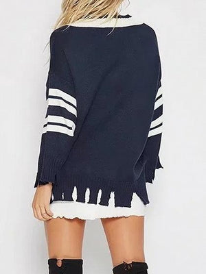 Dark Blue V-neck Stripe Panel Tassel Trim Chic Women Knit Sweater