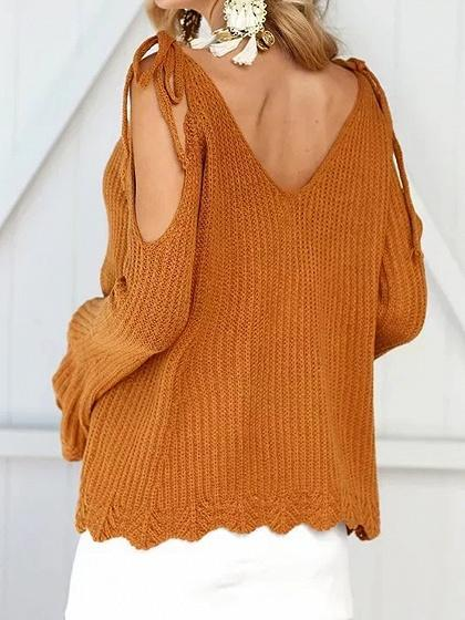 Yellow V-neck Cold Shoulder Flare Sleeve Chic Women Knit Sweater