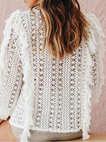 White Tassel Trim Puff Sleeve Chic Women Knit Sweater