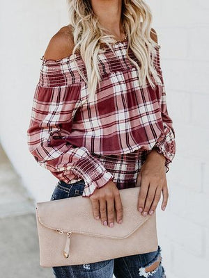 Red Plaid Off Shoulder Frill Trim Long Sleeve Chic Women Blouse