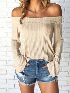 Beige Ribbed Off Shoulder Flare Sleeve Chic Women Blouse
