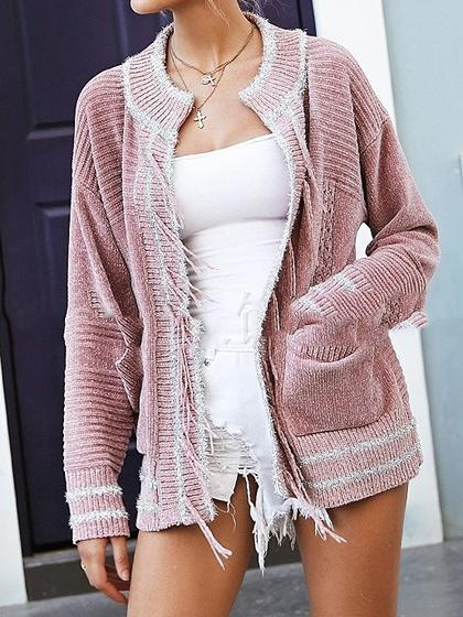 Pink Open Front Pocket Detail Long Sleeve Chic Women Knit Cardigan