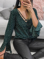Green Chiffon V-neck Polka Dot Print Flare Sleeve Chic Women Blouse