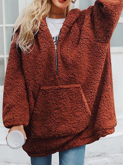 Dark Brown Pouch Pocket Long Sleeve Chic Women Hoodie