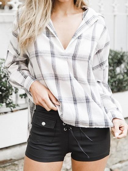 Blue Plaid Cotton V-neck Long Sleeve Chic Women Blouse