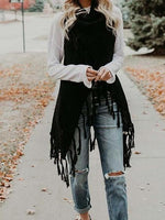 Black Open Front Tassel Trim Sleeveless Chic Women Knit Cardigan