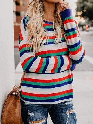 Multicolor Stripe Cotton Long Sleeve Chic Women Blouse