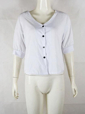 White V-neck Button Placket Front Chic Women Shirt