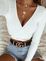 White Ribbed V-neck Tie Detail Long Sleeve Chic Women Crop Top