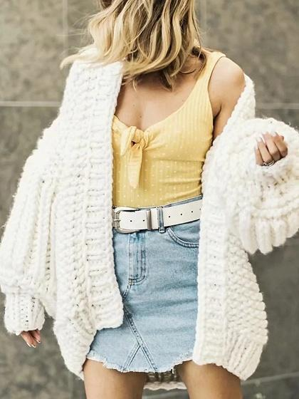 White Open Front Puff Sleeve Chic Women Knit Cardigan