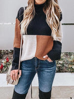Multicolor High Neck Long Sleeve Chic Women Knit Sweater