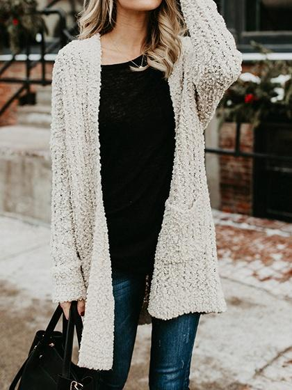 Beige Open Front Pocket Detail Long Sleeve Chic Women Knit Cardigan