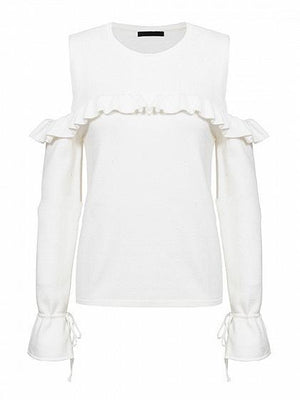 White Cold Shoulder Ruffle Trim Long Sleeve Chic Women Knit Sweater