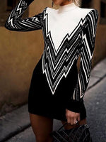 Black Contrast High Neck Long Sleeve Chic Women Knit Sweater