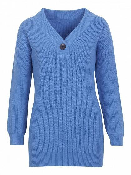 Blue V-neck Button Front Long Sleeve Chic Women Knit Sweater