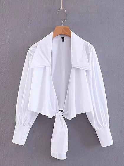 White Cotton V-neck Tie Front Puff Sleeve Chic Women Crop Blouse