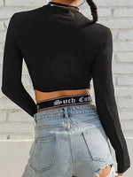Black Cotton Letter Panel Cross Strap Long Sleeve Chic Women Crop Top