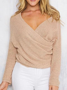 Khaki V-neck Long Sleeve Chic Women Knit Sweater