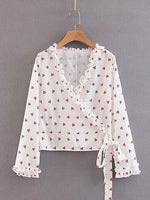 White V-neck Cherry Print Frill Trim Long Sleeve Chic Women Blouse