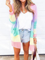 Polychrome Stripe Open Front Long Sleeve Chic Women Knit Cardigan