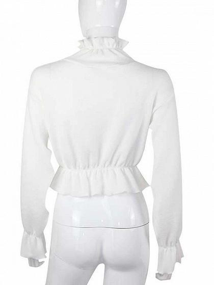 White High Neck Ruffle Trim Long Sleeve Chic Women Knit Crop Top