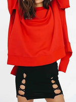 Red Crew Neck Letter Print Asymmetric Hem Long Sleeve Sweatshirt