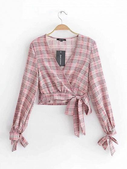 Pink Plaid V-neck Long Sleeve Chic Women Crop Blouse