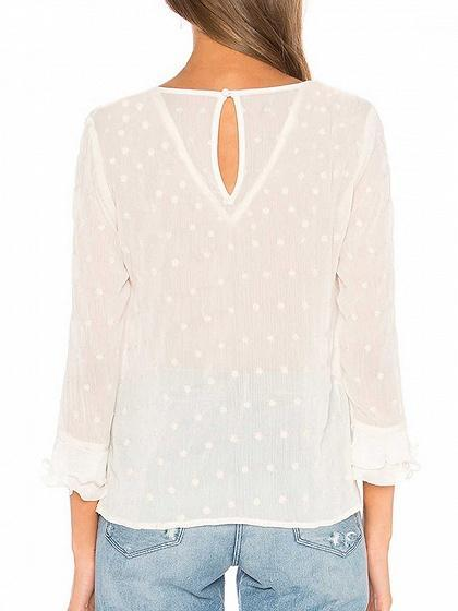White Polka Dot Print Ruffle Trim Long Sleeve Blouse