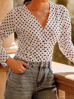 White V-neck Polka Dot Print Long Sleeve Chic Women Shirt