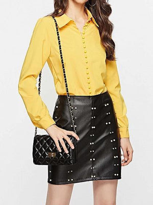 Yellow Button Placket Front Long Sleeve Shirt