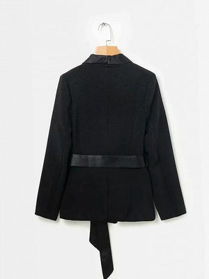Black Lapel Double Breasted Front Tie Waist Long Sleeve Blazer