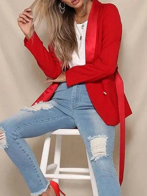 Red Lapel Double Breasted Front Tie Waist Long Sleeve Blazer