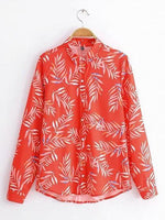 Red Leaf Print Long Sleeve Chic Women Shirt