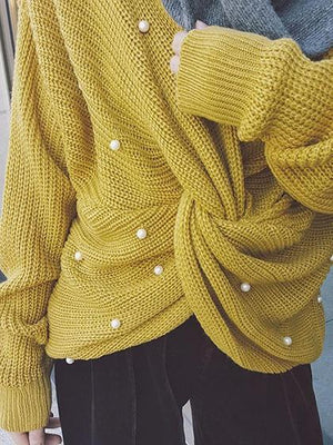 Yellow Beaded Detail Open Back Long Sleeve Knit Sweater