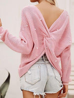 Pink Beaded Detail Open Back Long Sleeve Knit Sweater
