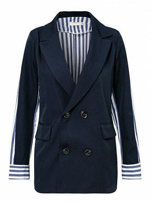 Black Lapel Stripe Panel Back Long Sleeve Chic Women Blazer
