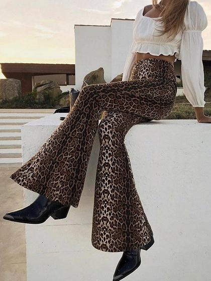 Brown High Waist Leopard Print Wide Leg Pants