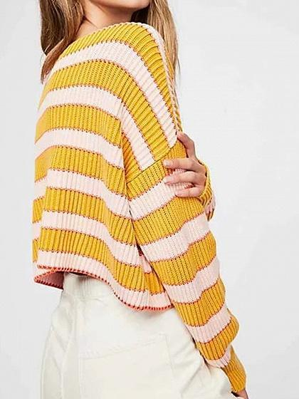 Yellow Stripe Ribbed Long Sleeve Chic Women Crop Sweater
