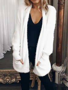 White Open Front Pocket Detail Long Sleeve Fluffy Cardigan