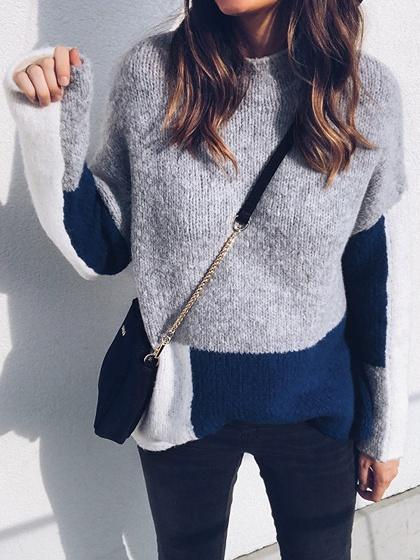 Gray Contrast Long Sleeve Chic Women Sweater