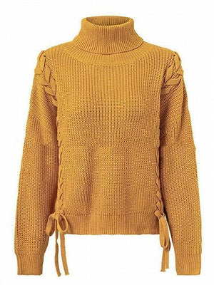 Yellow High Neck Lace Up Side Long Sleeve Knit Sweater
