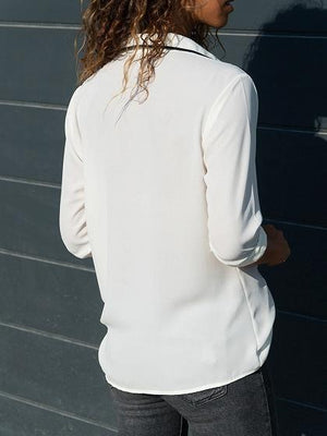 White Chiffon V-neck Button Placket Front Long Sleeve Shirt